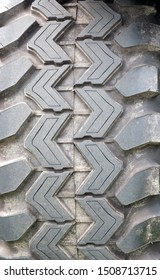 a close up of the tread of a heavy duty all terrain vehicle tyre