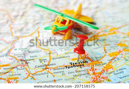 Close Treviso Italy Map Red Pin Stock Photo (Edit Now) 207158575 ...