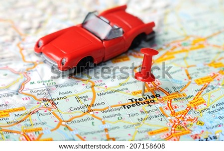 Close Treviso Italy Map Red Pin Stock Photo (Edit Now) 207158608 ...
