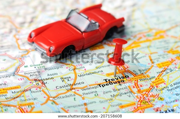 Close Treviso Italy Map Red Pin Stock Photo (Edit Now) 207158608