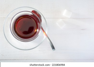 Close up of Turkish Tea with sugar and spoon