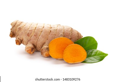 Close up Turmeric, Curcuma longa Linn, rhizome isolated on white background.