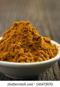 close up of the turmeric powder