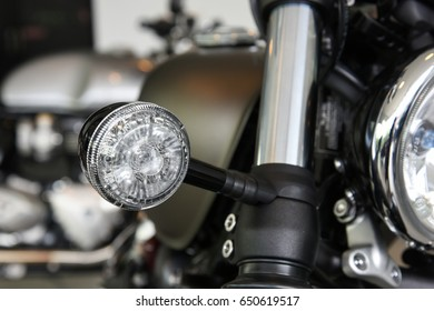 close up of Turn signal LED light of motorcycle