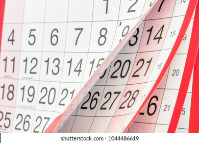 Close up of Turning Pages of a Calendar. Selective Focus