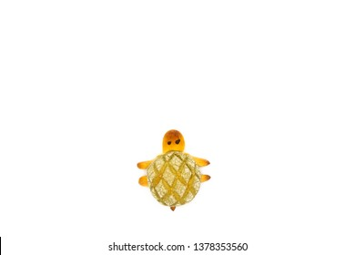 Close up turtle shape pineapple bun On white background