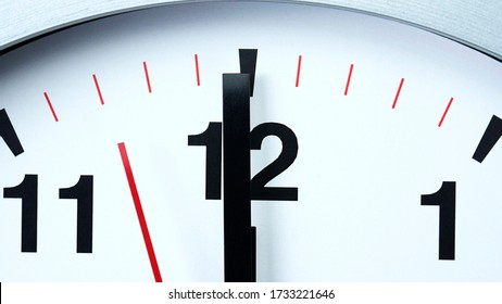 Close up Twelve o'clock Gray wall clock beginning of time 12.00 pm. , Concept It is 100 Seconds to Midnight.