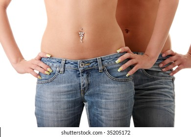 Close up of a two beautiful woman's waist isolated on a white background