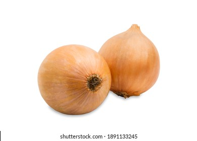 close up two big onions isolated on white background with clipping path
