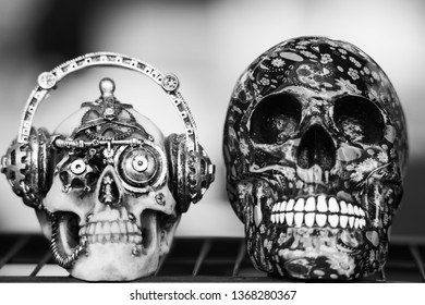 close up of two black and white skulls used as halloween decorations
