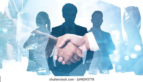 Close up of two businessmen shaking hands in abstract blurry city with double exposure of their diverse colleagues. Concept of business partnership and management. Toned image