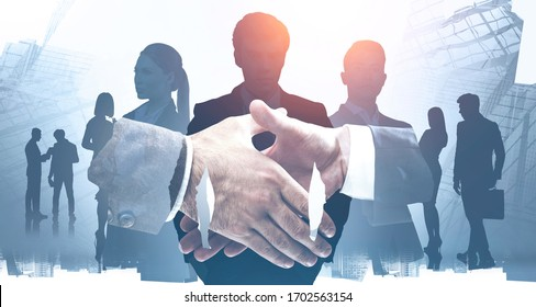 Close up of two businessmen shaking hands in abstract blurry city with double exposure of their diverse colleagues. Concept of partnership and deal. Toned image