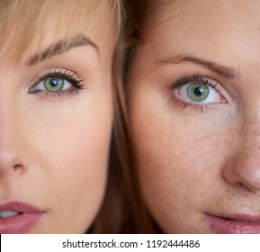 Close up of two different woman's face