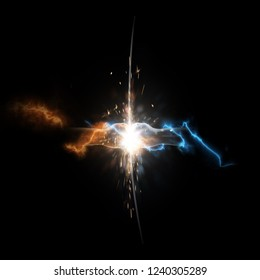 Close up of two fists hitting each other over dark. Fire VS electric energy