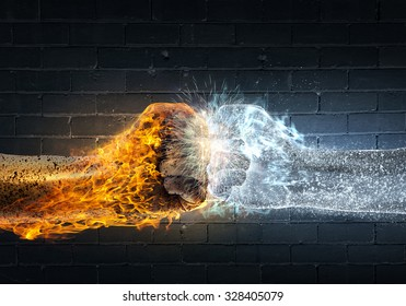 Close up of two fists hitting each other