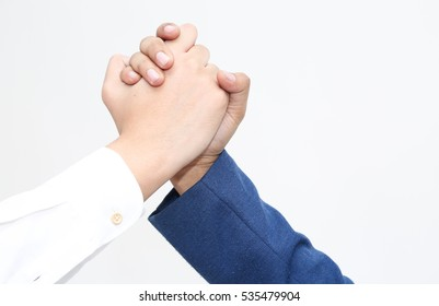 Close up of two hand from each business men holding hand together,  handshake or touching / isolated on white background