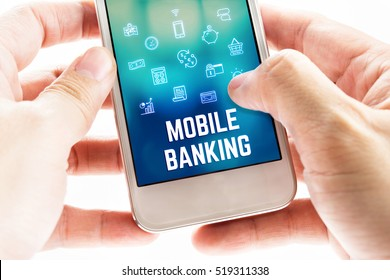 Close up Two hand holding mobile phone with Mobile banking word and icons, Digital financial business concept