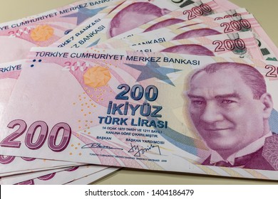 close up two hundred turkish liras. the largest banknote of the Turkish economy.