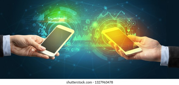 Close up of two smartphones, business and communication concept