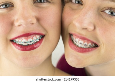 Close up of Two Young Girls Smiling