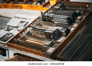 Close Up Of Typesetting Linotype Machine, Imprint. Paper Mill Museum. Famous Landmark, Historical Heritage.
