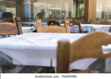 close up of typical greek restaurant table