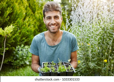 Close u outdoors portrait of beautiful joyful hispanic man in blue shirt smiling with teeth, holding pot with microgreens, working in garden.