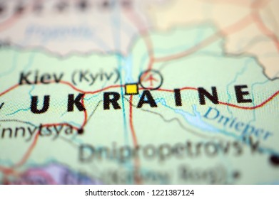 close up Ukraine on map
