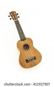 Close up of the ukulele on white background.