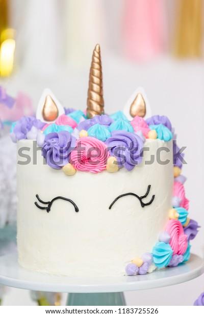 Astonishing Close Unicorn Cake Little Girl Birthday Stock Photo Edit Now Personalised Birthday Cards Veneteletsinfo