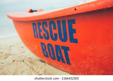 Close uo of rescue boat on the beach. Lifeguard, life boat, resecue, baywatch