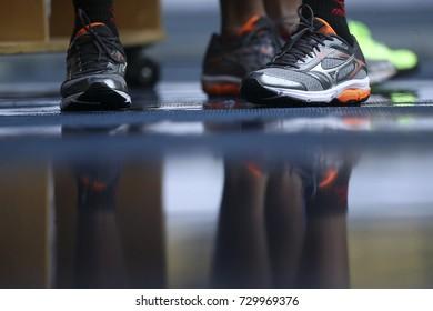 Close up. Athletes use sport shoes at the 9th PARA ASEAN Games 2017 at the Atlantik Stadium Bukit Jalil, Kuala Lumpur.