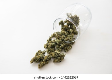 close up, Cannabis buds on white table, weed, fresh marijuana,