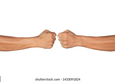 close up.  clash of two fists on White background. Concept of confrontation, competition etc.
