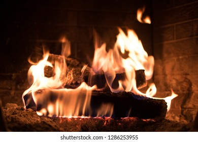 Close up, depth of field view of a fireplace.
