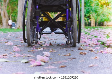 Close up. Disabled young man on Wheelchair in the park. His cart was parked on a road with pink flowers.