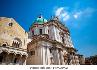 Close up. The Duomo Vecchio cupola  (the Old Cathedral dome) in sunny day on the square Piazza Paolo VI (Piazza del Duomo). The main catholic church of Brescia, Lombardy, Italy. Italian architecture.
