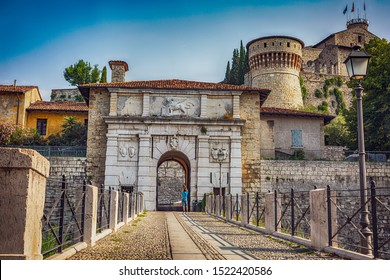 Close up. The entrance of Castello of Brescia, Lombardy region in Italy. Roman ancient castle. White marble.