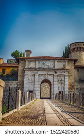 Close up. The entrance of Castello di Brescia, Lombardy, Italy. Roman ancient castle.