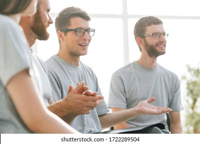 close up. a group of young people listening to a lecture in the