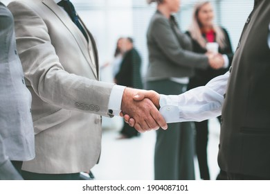close up. handshake of business people before a business meeting.