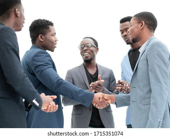 close up. handshake of young business people