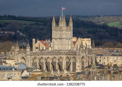 A close up, high viewpoint of Bath Abbey on a sunny day in Bath, England, United Kingdom