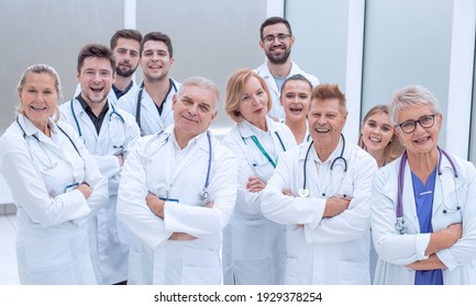 close up. large group of doctors standing together.