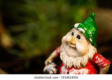 A close up, low aperture shot of a garden gnome.