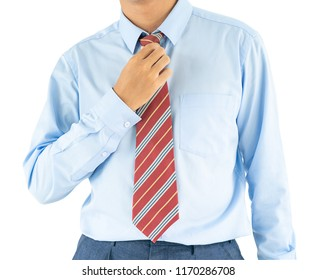 Close up, Male wearing blue shirt and red tie, he tighten the tie knot with clipping path