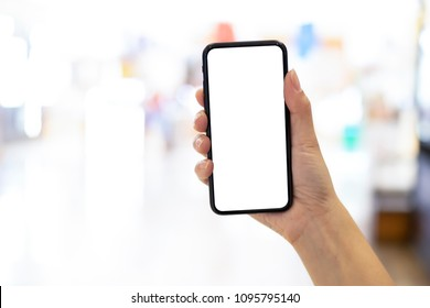 Close up, mock up smartphone with blurred background