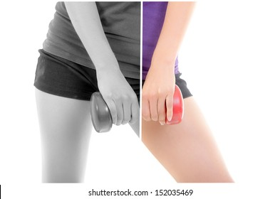 close up, muscular woman body with dumbells copyspace sign