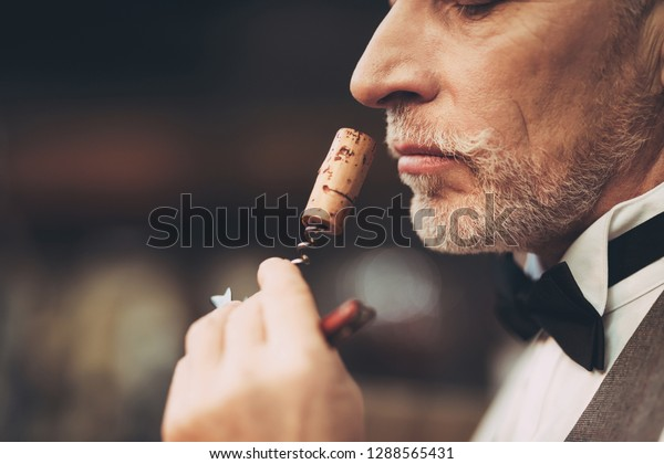 Close up. Old experienced sommelier smells wine stopper on corkscrew, assessing taste of drink. Wine tasting.