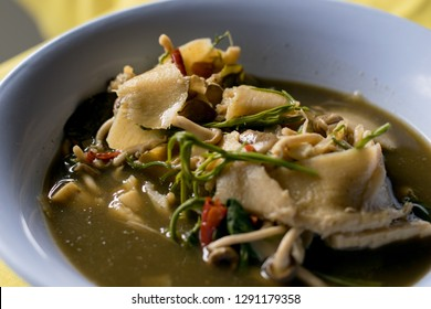 close up. Pickled bamboo shoot with mushroom curry is northeast food of Thailand.